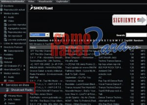 Como ver la lista de emisoras de Winamp y la direccion mms de una radio. Fuente: ComoHacerPara